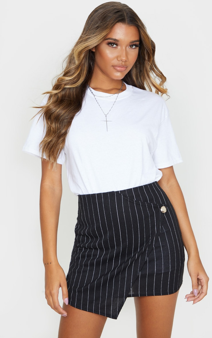 Black Pinstripe Wrap Mini Skirt 1