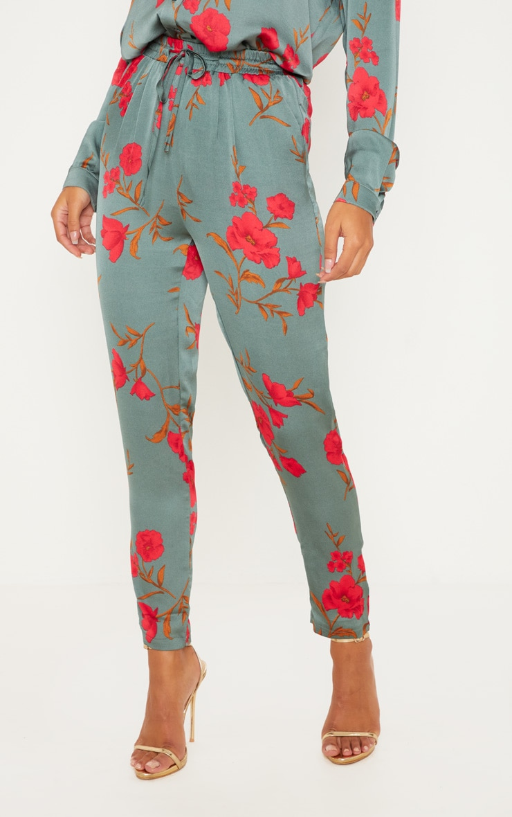 Green Floral Print Cigarette Pants 2