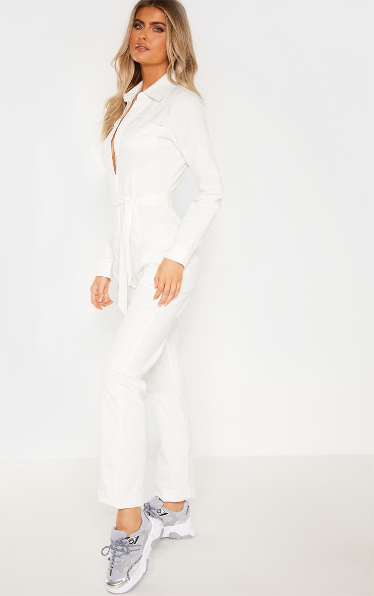 Tall White Square Pocket Long Sleeve Utility Jumpsuit 4