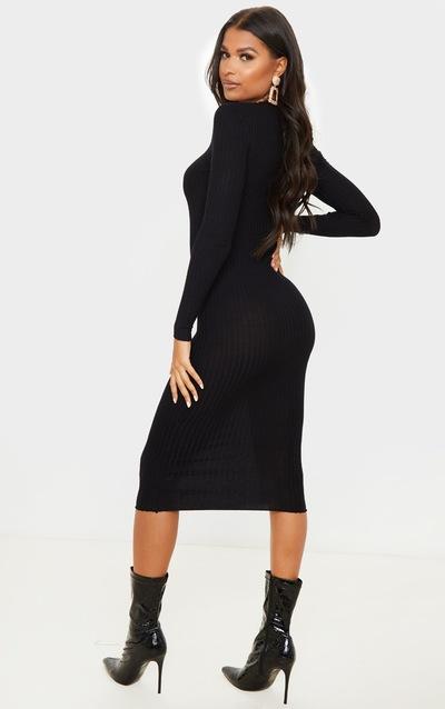 Black Rib Knitted Midi Dress