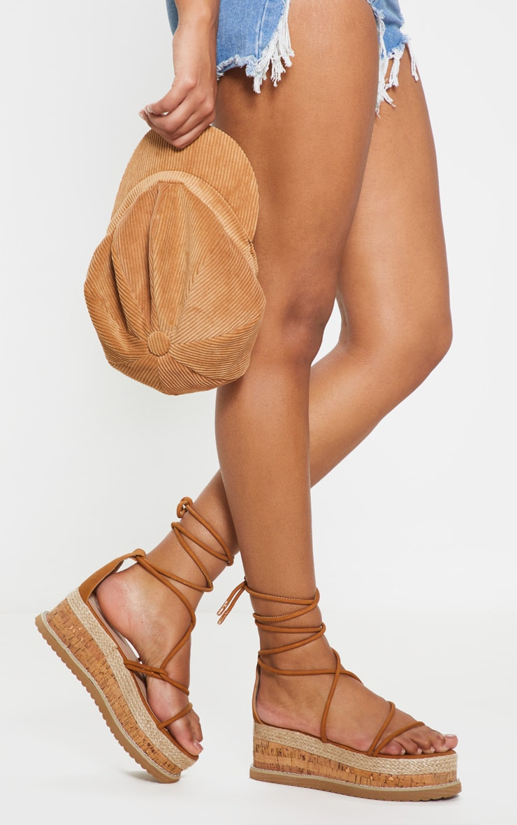Tan Lace Up Strappy Flatform Sandal 2