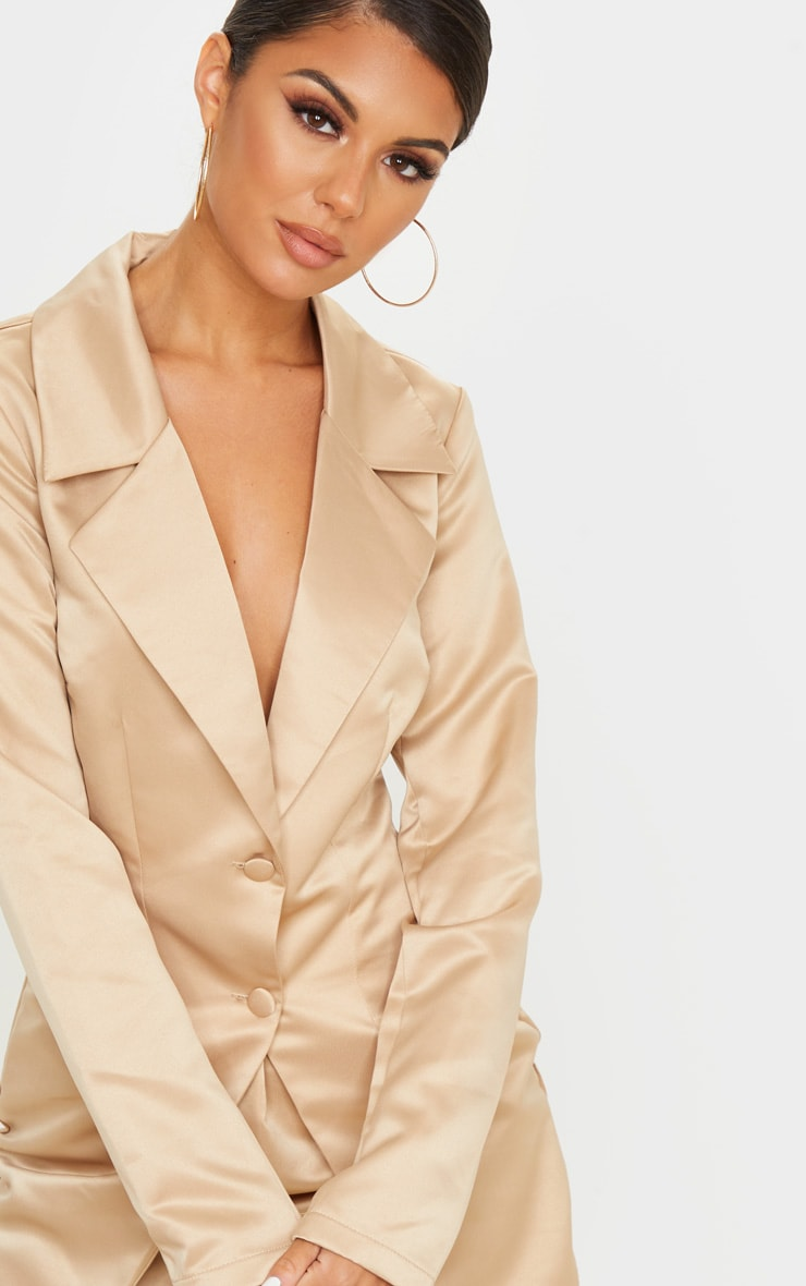 Champagne Satin Button Detail Tailored Long Sleeve Blazer Dress 5