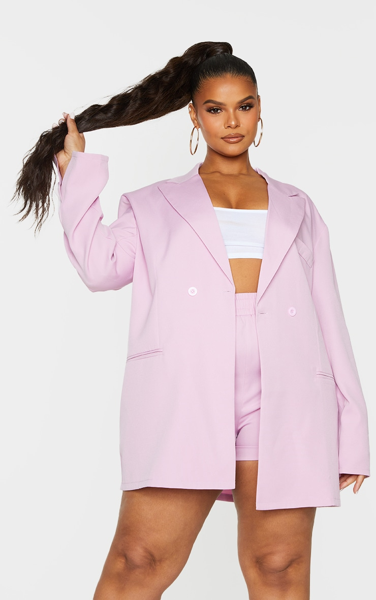 Plus Lilac Relaxed Oversized Blazer 1