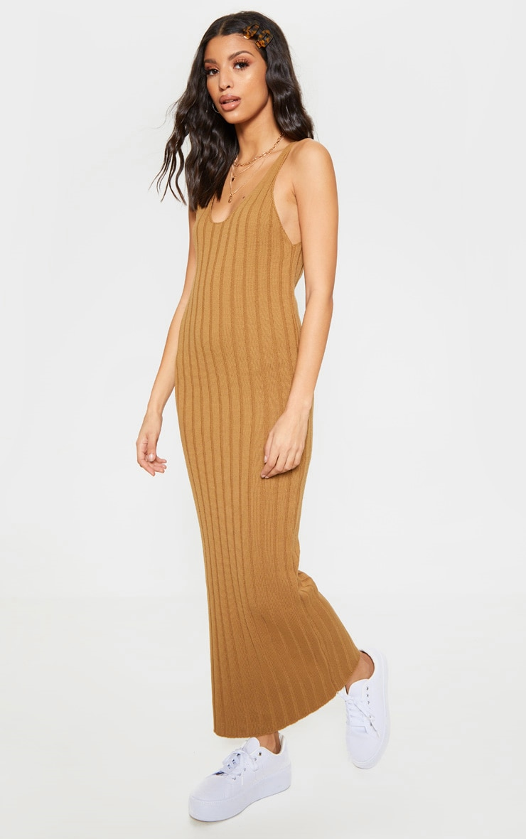 Camel Ribbed Knitted Maxi Dress 4