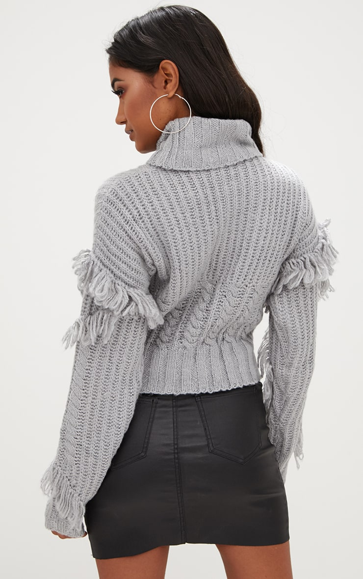 Grey Tassel Cable Knit Jumper 2