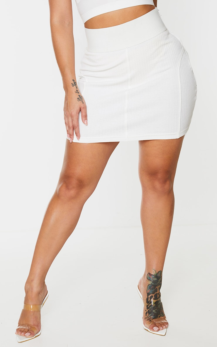 Shape Cream Thick Rib Elasticated Waistband Bodycon Skirt 2