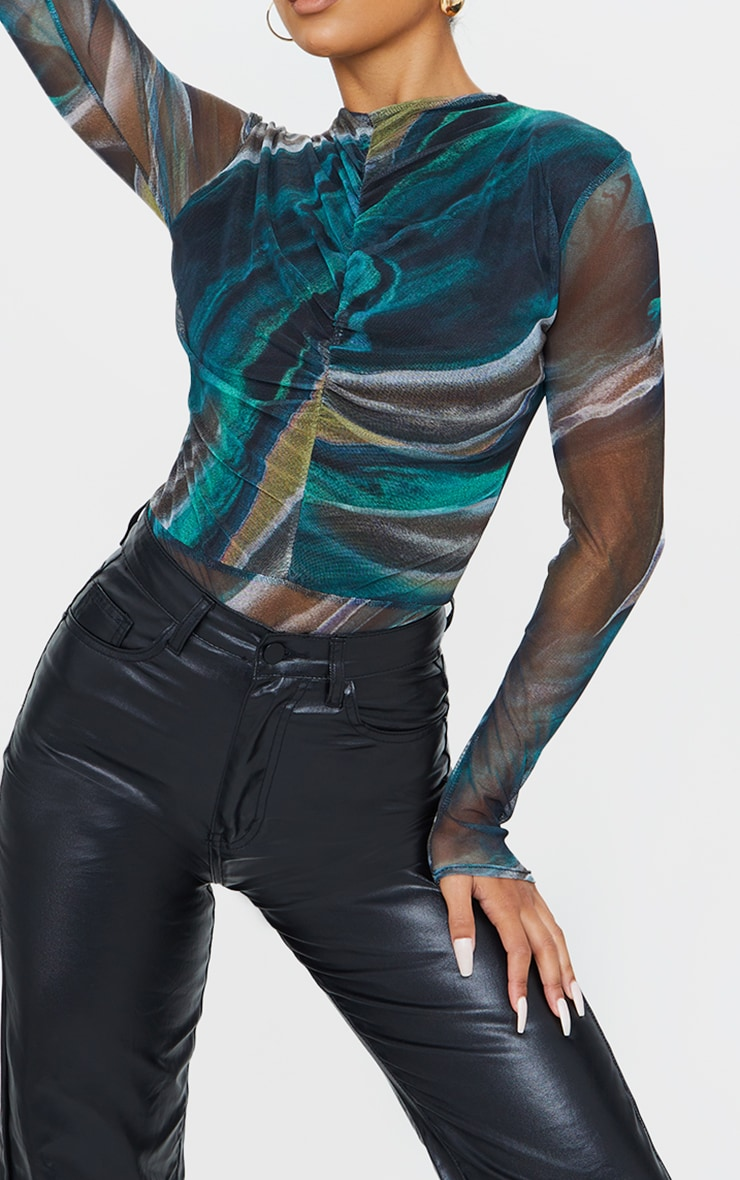 Green Abstract Printed Mesh Ruched Front Long Sleeve Bodysuit 4