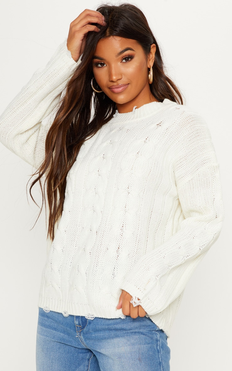 Cream Cable Detail Knitted Jumper with Distressed Hem