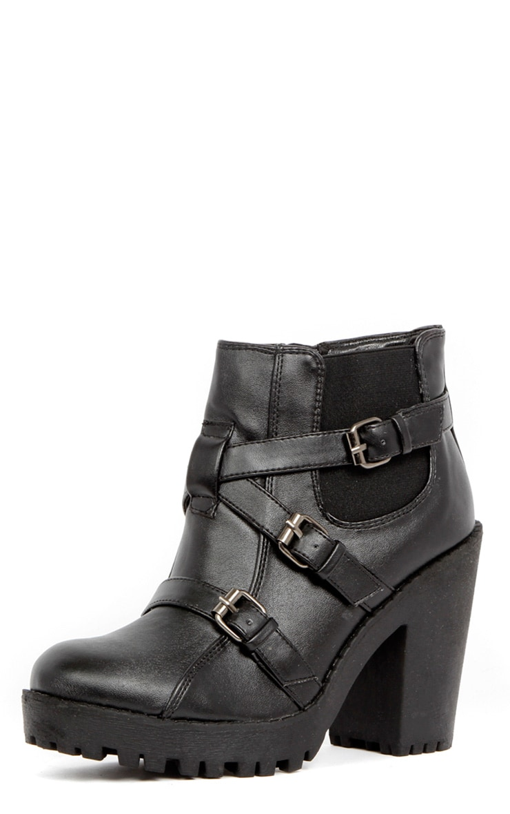 Stacie Leather Chunky Strap Buckle Boots 2