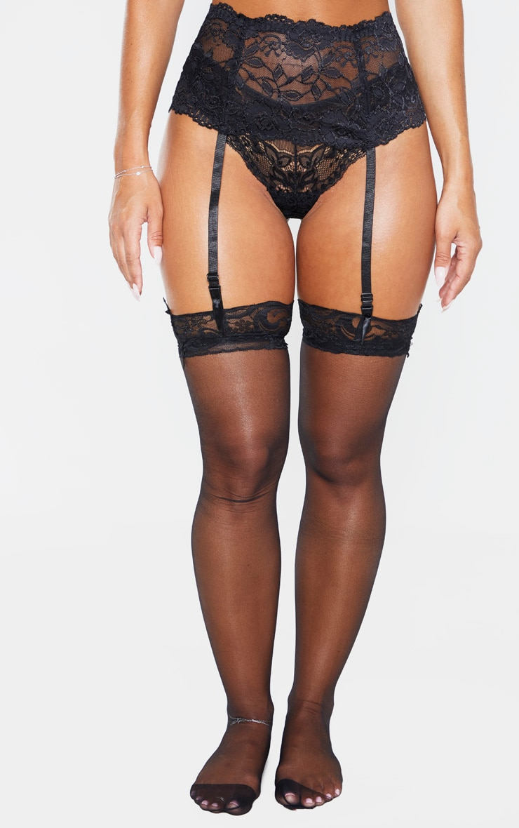 Black Lace Top Sheer Hold Ups 1