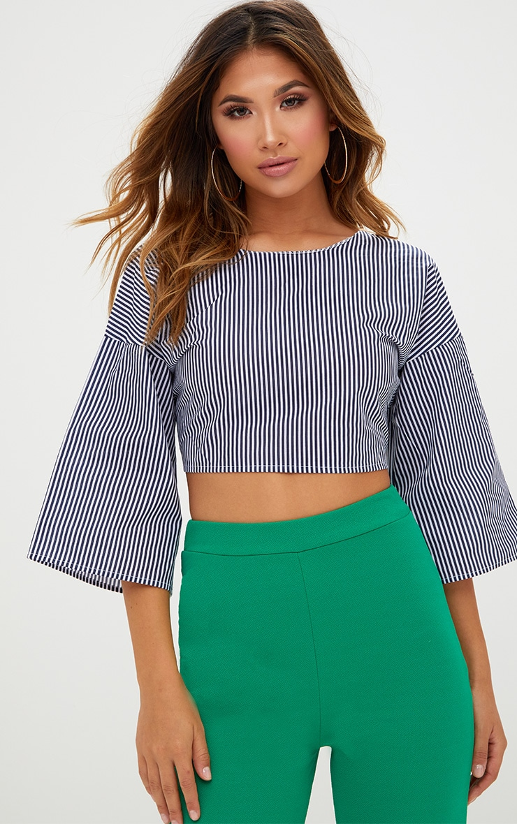 Blue Flare Sleeve Stripe Tie Back Shirt 2