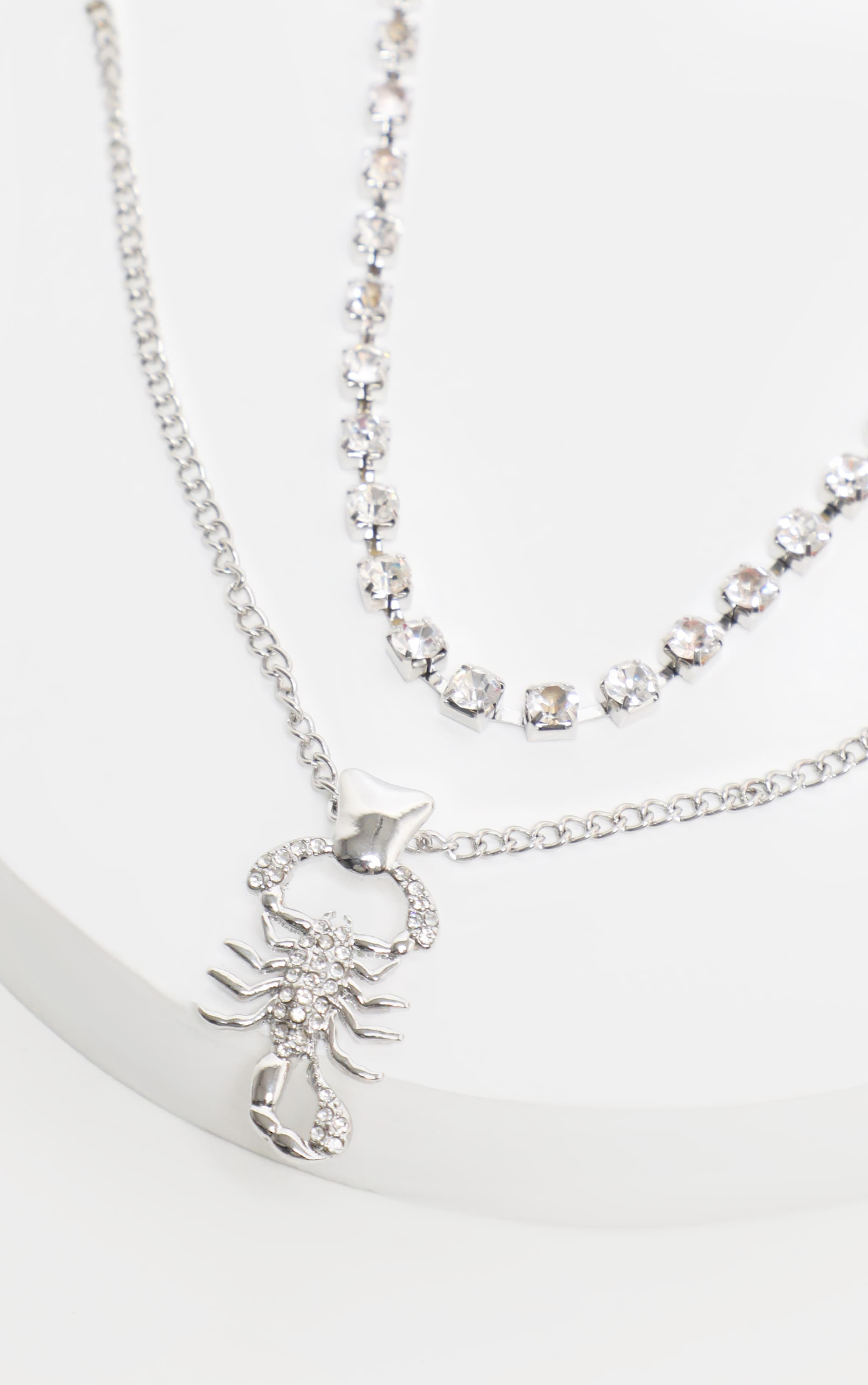 Silver Diamante Choker And Scorpion Layering Necklace 3