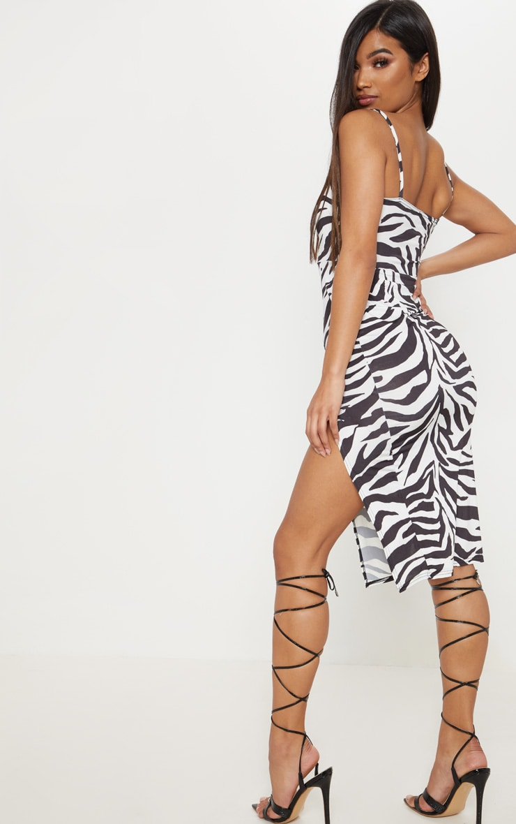 Monochrome Zebra Print Slinky Split Leg Midi Dress 2