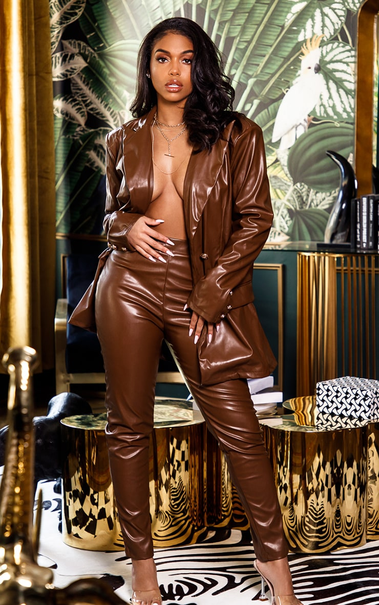 Brown PU Oversized Double Breasted Pocket Front Blazer 1