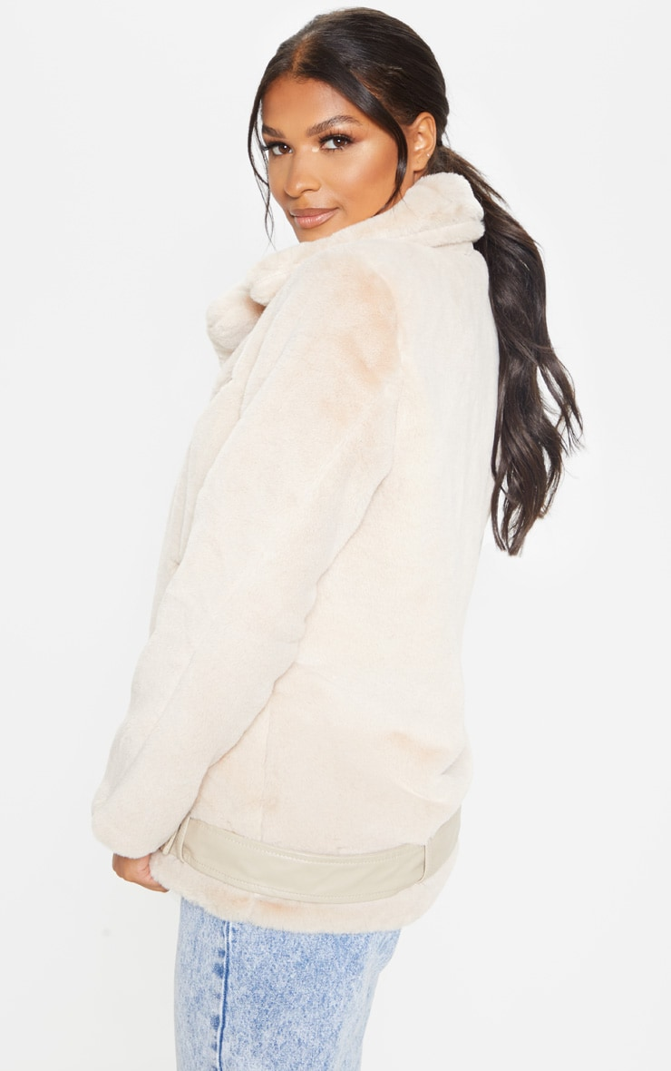 Stone Faux Fur Aviator Jacket 2