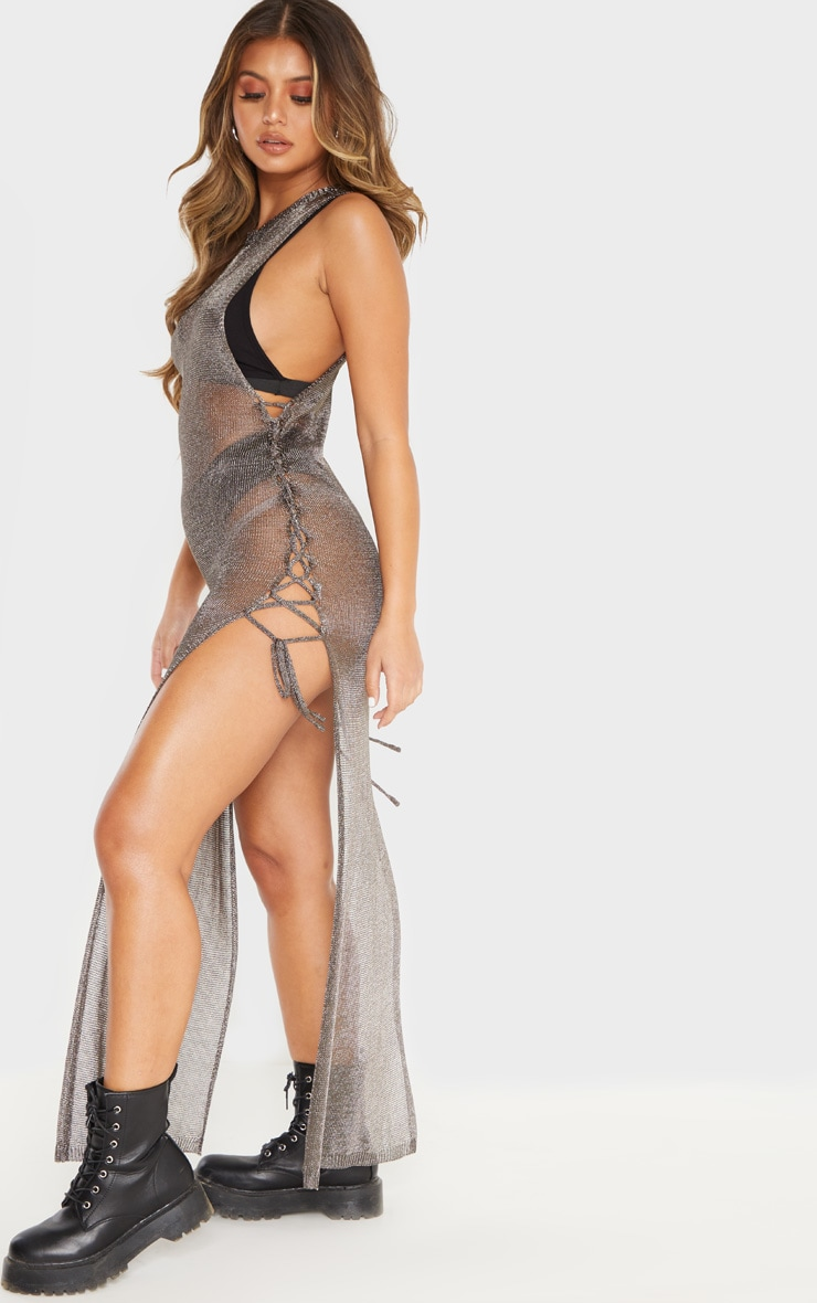 Pewter Metallic Knitted Maxi Dress 4