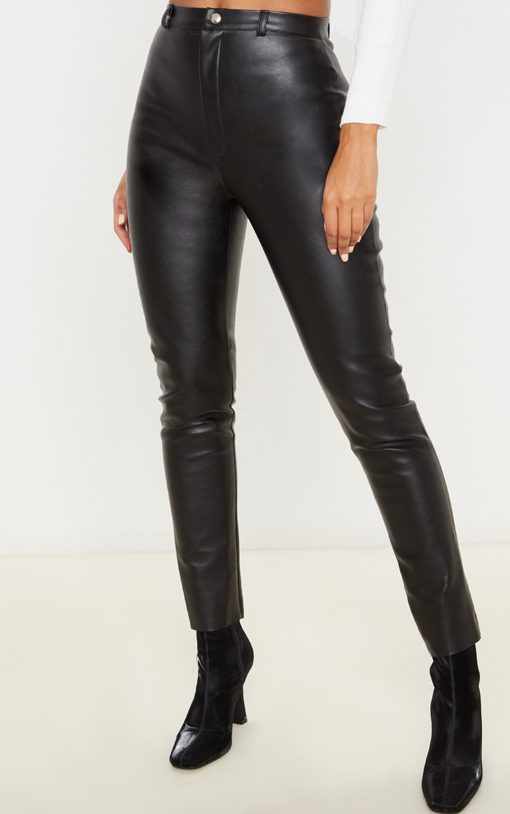 Black Faux Leather Straight Leg Pants 2