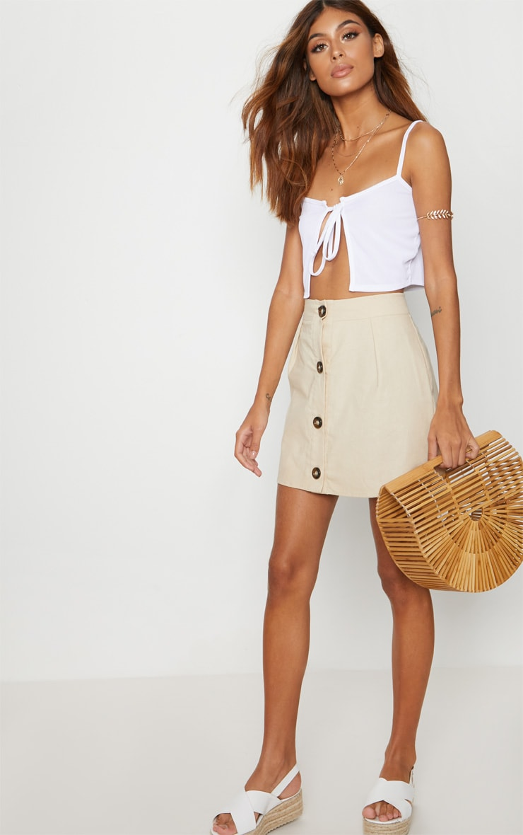 White Rib Cami Tie Front Crop Top 4