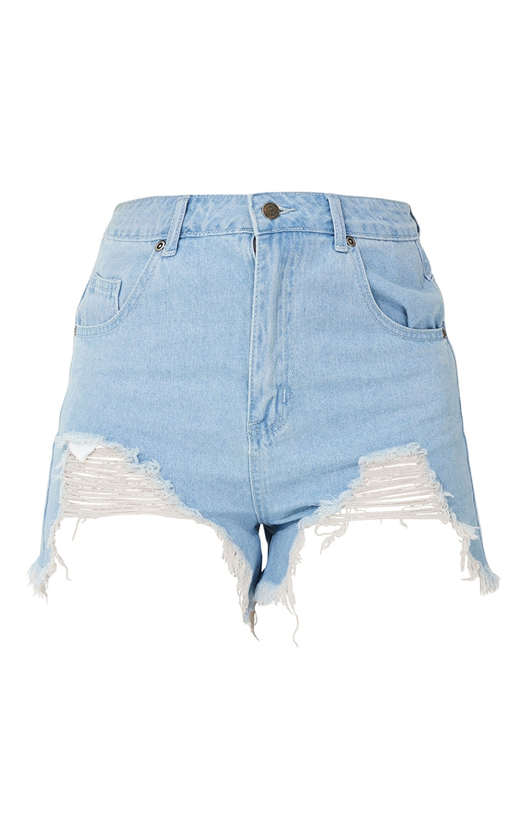Mid Blue Wash Ripped Denim Shorts 6