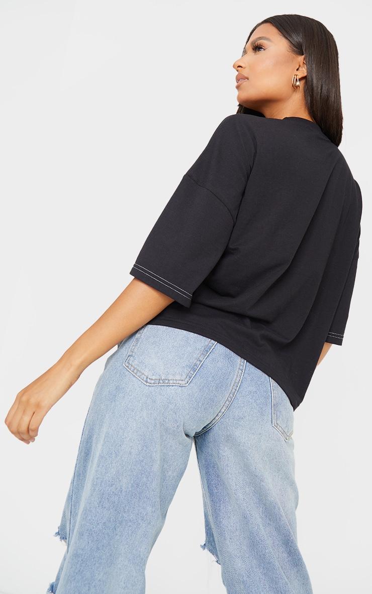 PRETTYLITTLETHING Black Moto Embroidered Oversized T Shirt 2