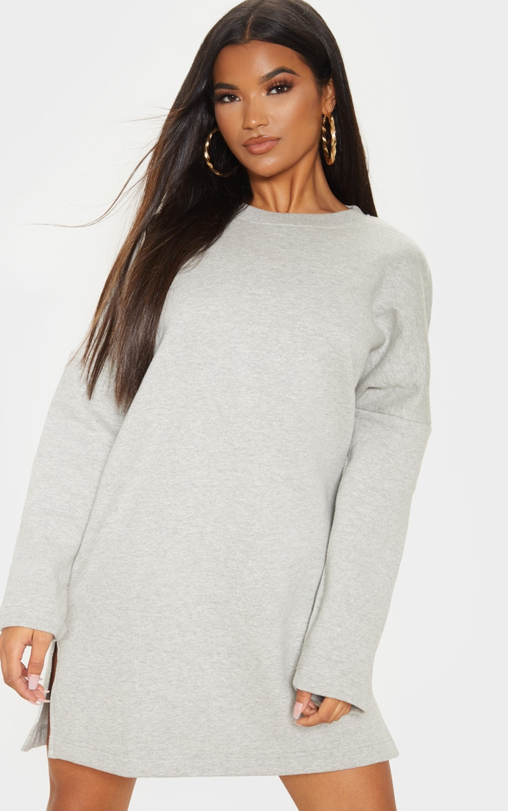 Grey Marl Oversized Side Split Sweat Jumper Dress 4
