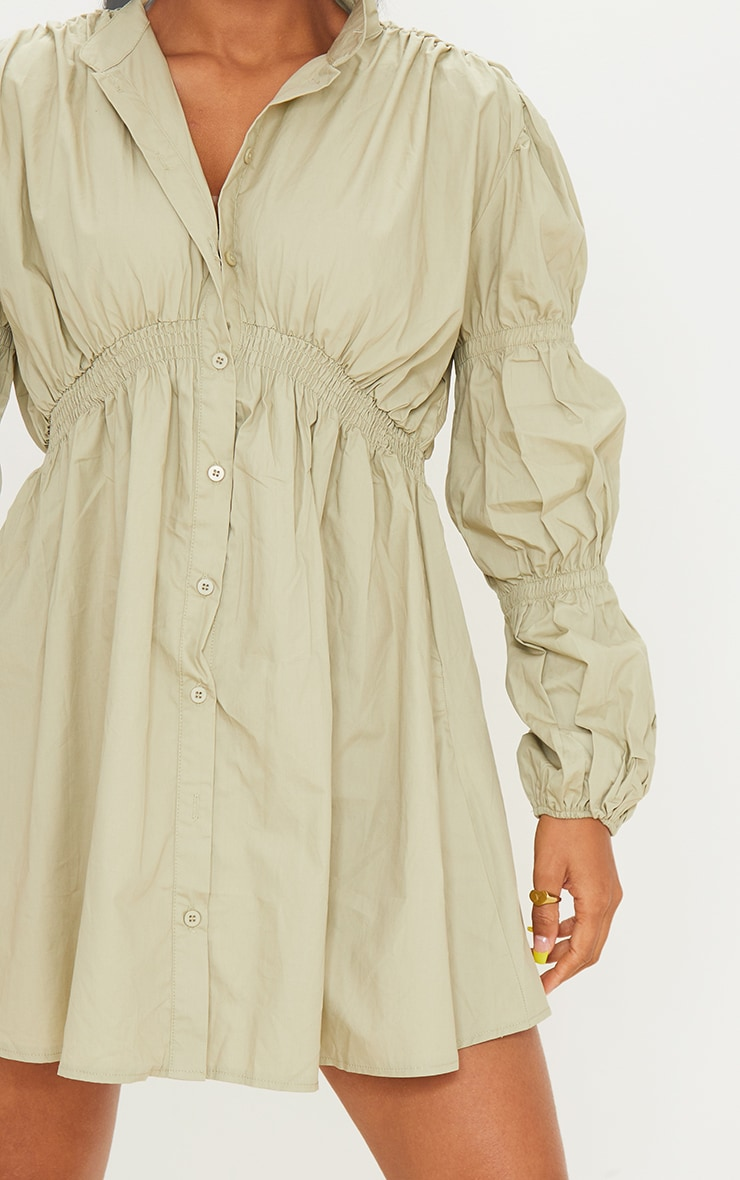 Sage Green Cotton Ruched Arm Detail Shirt Dress 4