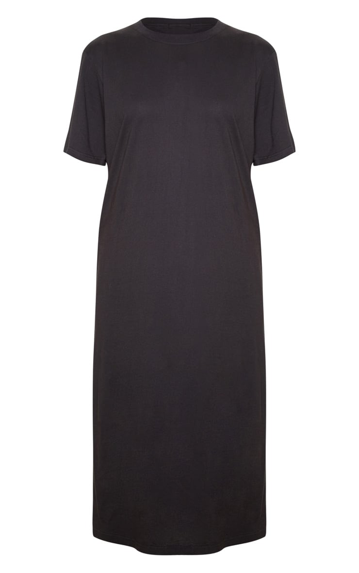 Black Split Side Midi T Shirt Dress 3