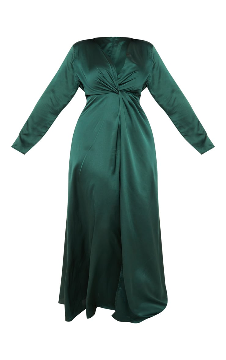 Plus Emerald Green Twist Front Maxi Dress 3