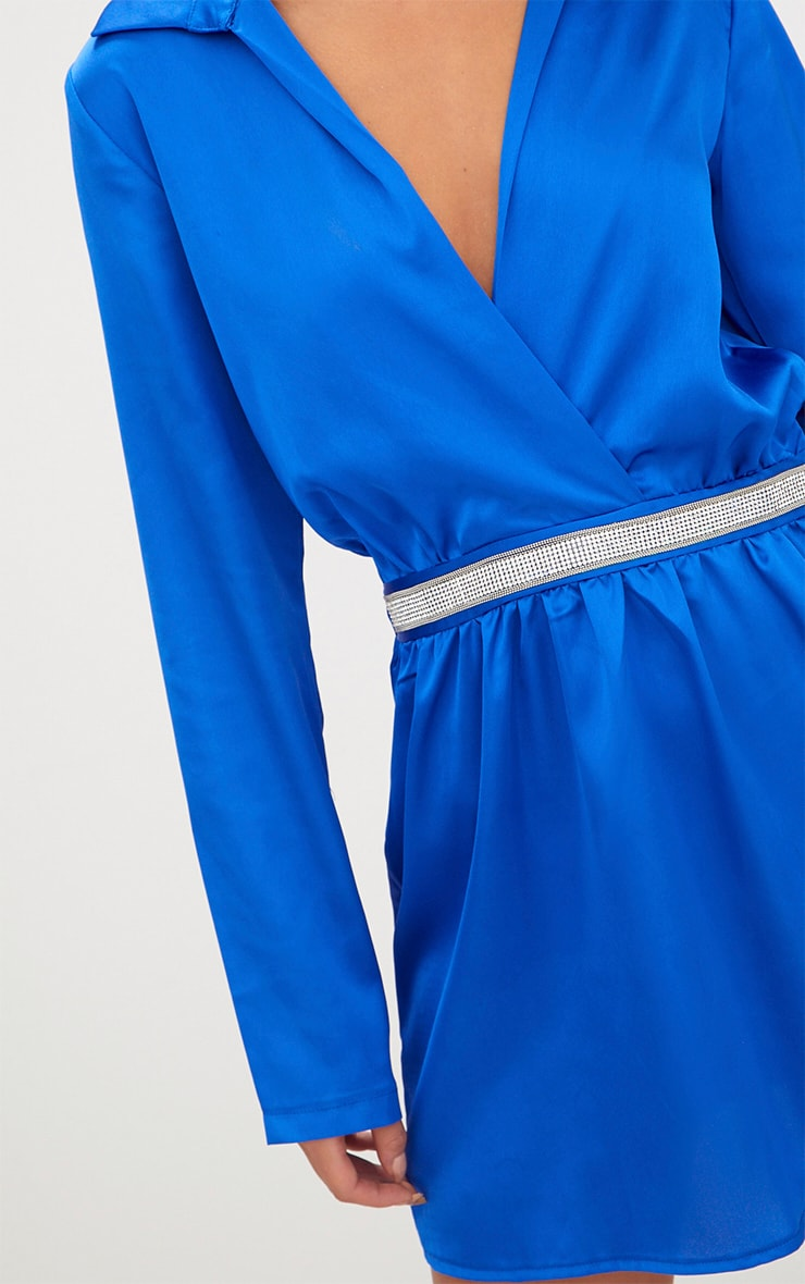 Cobalt Diamante Waist Plunge Front Shift Dress 4
