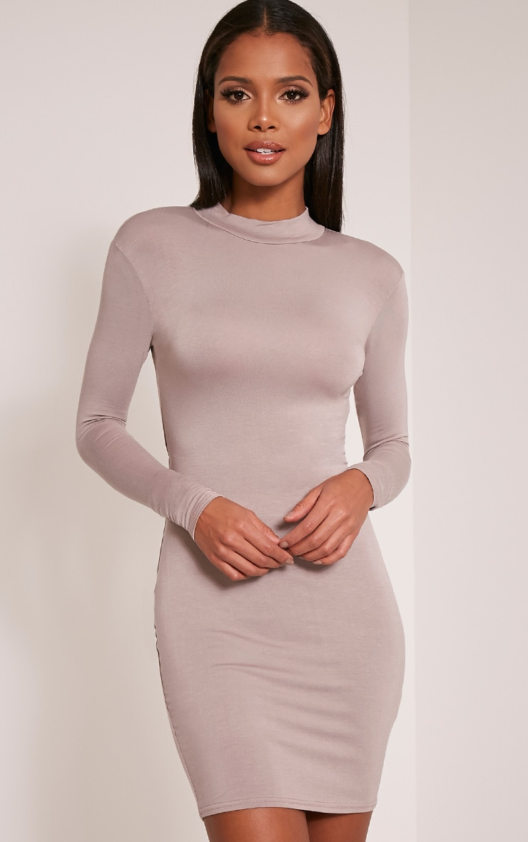 Demee Taupe Open Back Jersey Bodycon Dress 1