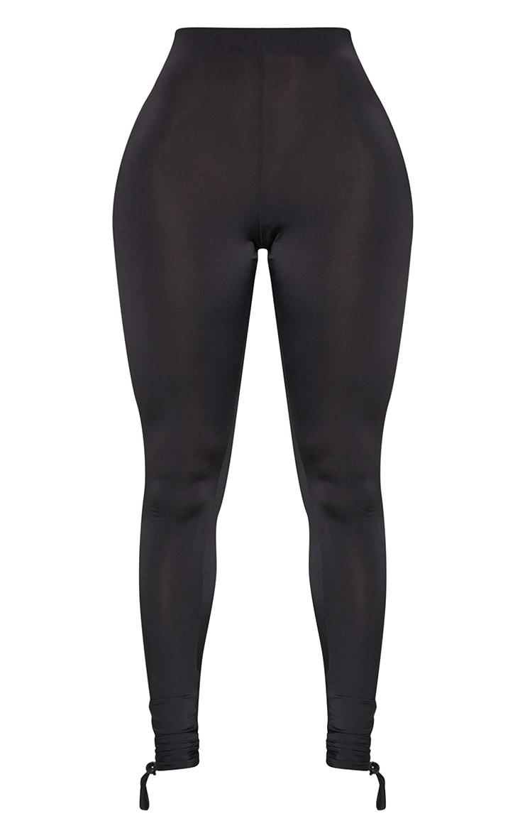 Shape Black Slinky Ruched Hem Toggle Detail Leggings 5