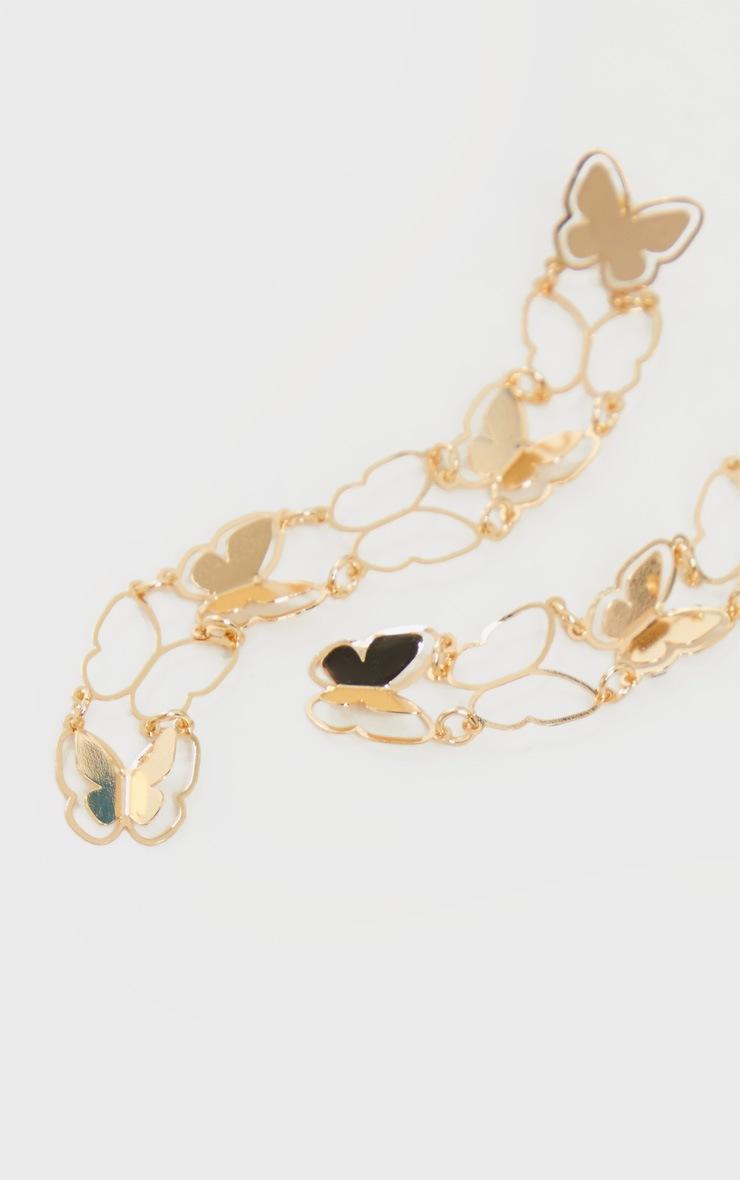 Gold Drop Butterfly Earrings 3