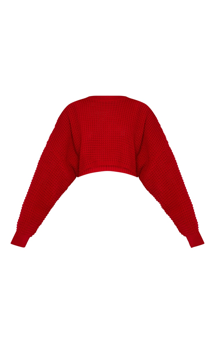 Red Fisherman Knitted Super Cropped Sweater 3