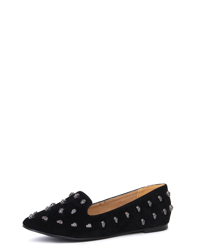 Carla Black Suede Studded Slipper Pumps 1