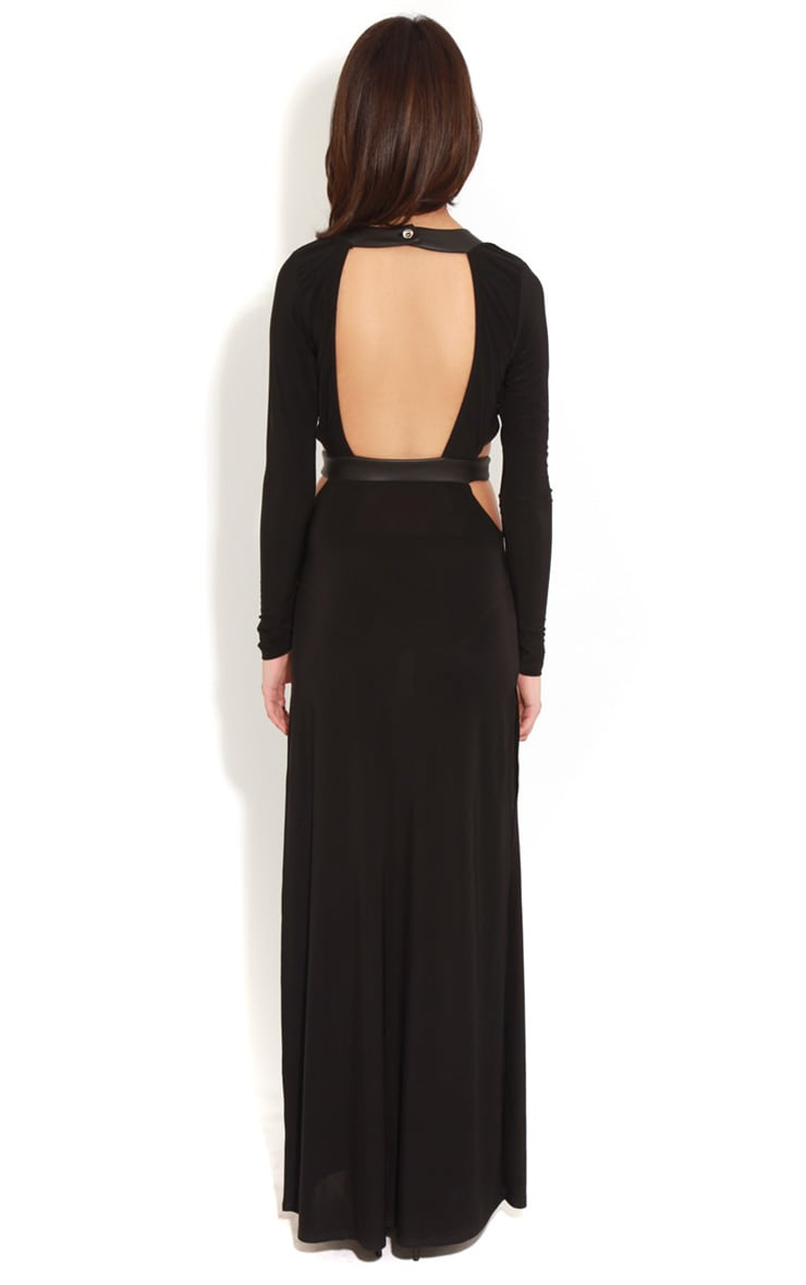 Luce Black Long Sleeve Cut Out Maxi Dress -12 2