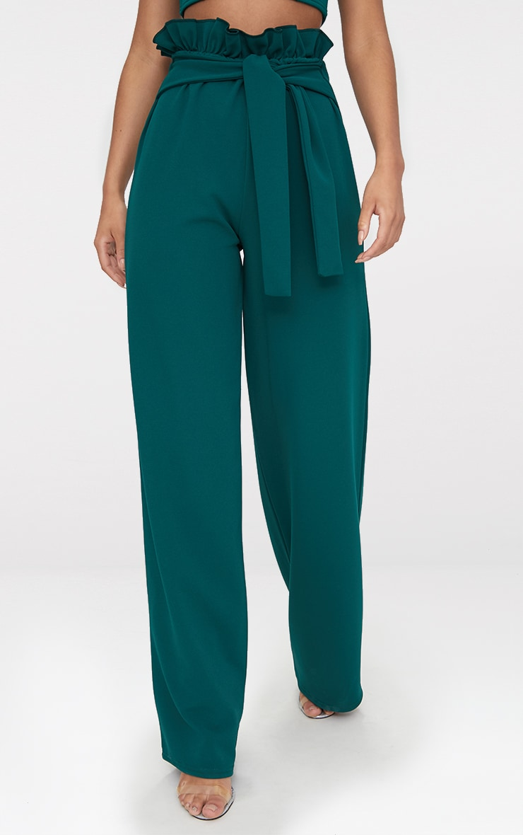 Emerald Green Crepe Paperbag Wide Leg Pants 2