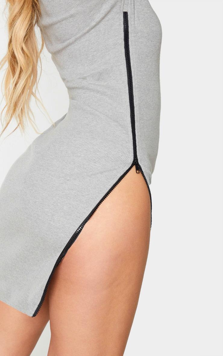 Grey Ribbed Side Zip Bodycon Dress 4