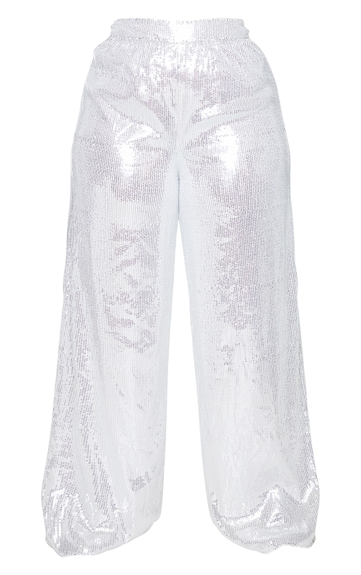 Plus Silver Sequin Wide Leg Trousers 5