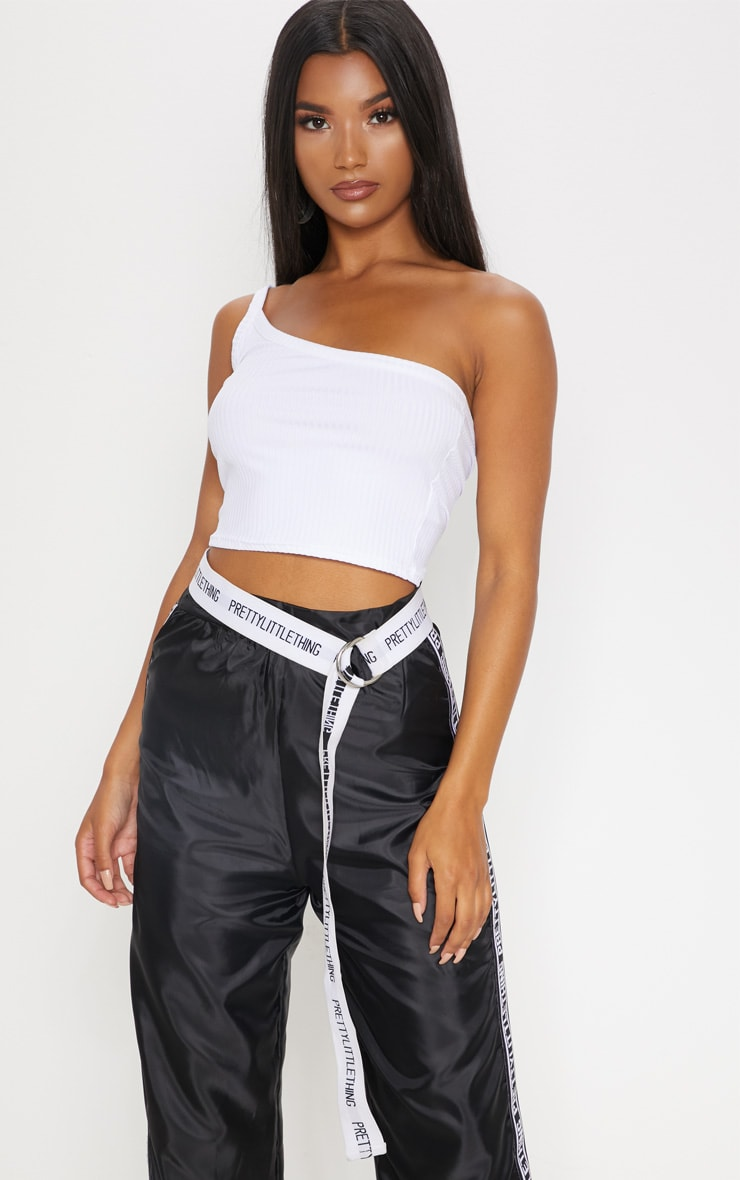 White One Shoulder Ribbed Crop Top 2