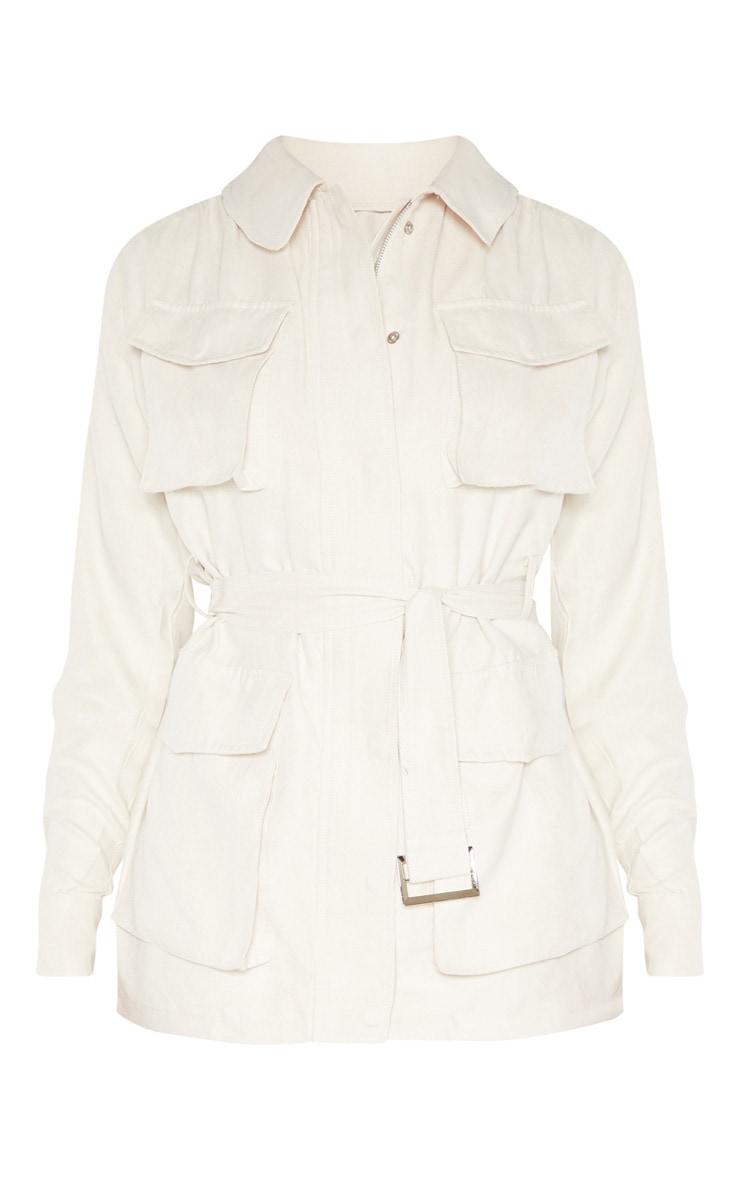Cream Faux Suede Pocket Detail Jacket  3