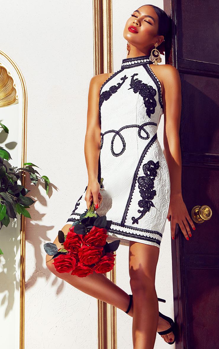 White Jacquard Black Embroidered Bodycon Dress 1