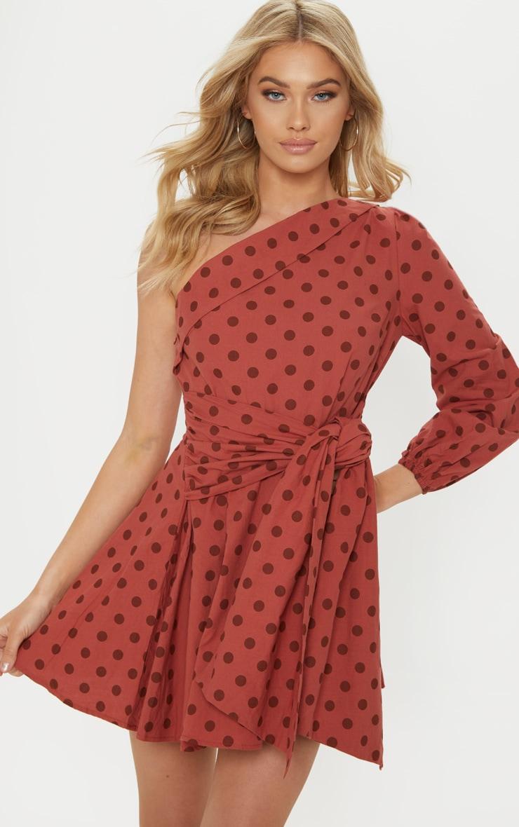 Rust Polka Dot One Sleeve Shirt Dress 1