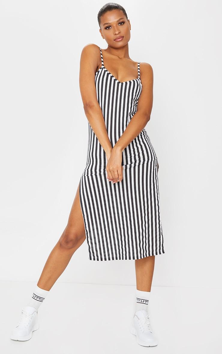 Black Stripe Jersey Split Cami Midi Dress 1