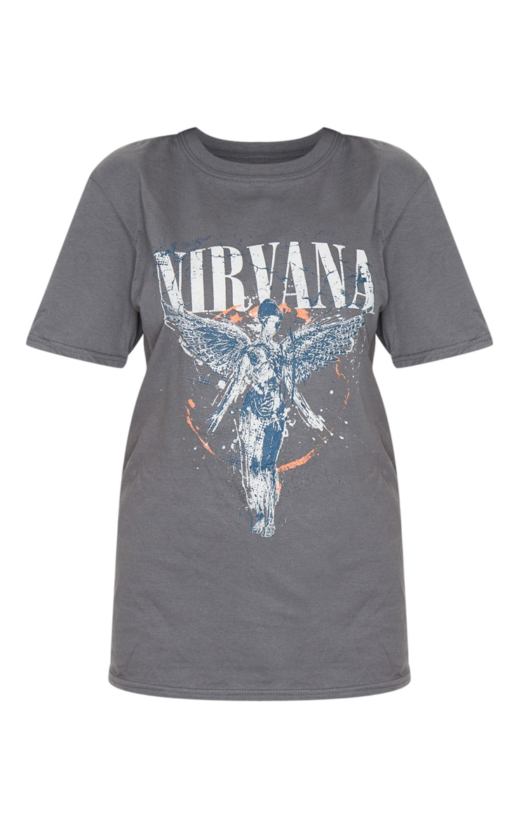 Grey Nirvana Wings Print T Shirt 5
