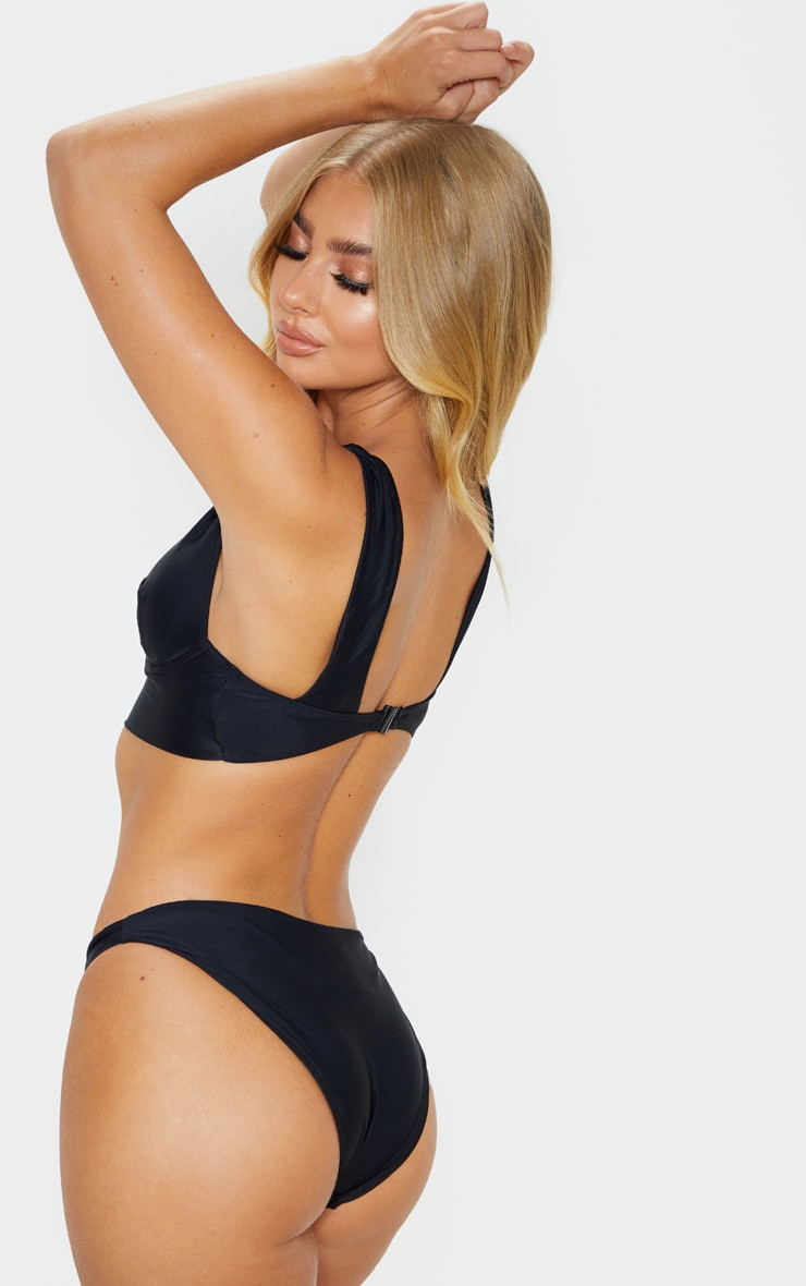 Black V Wire Plunge Bikini Top 2
