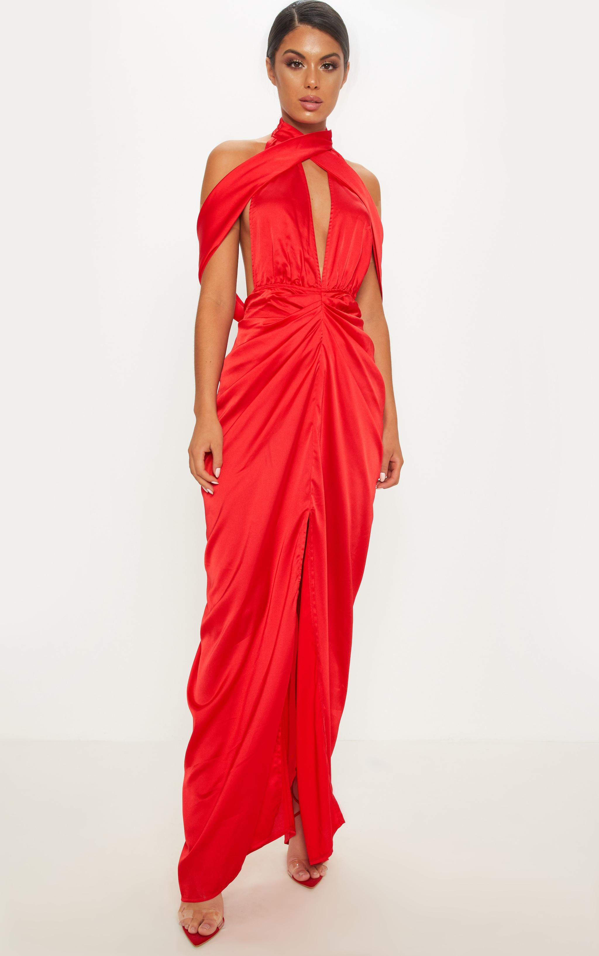 Red Satin Drape Detail Maxi Dress 1