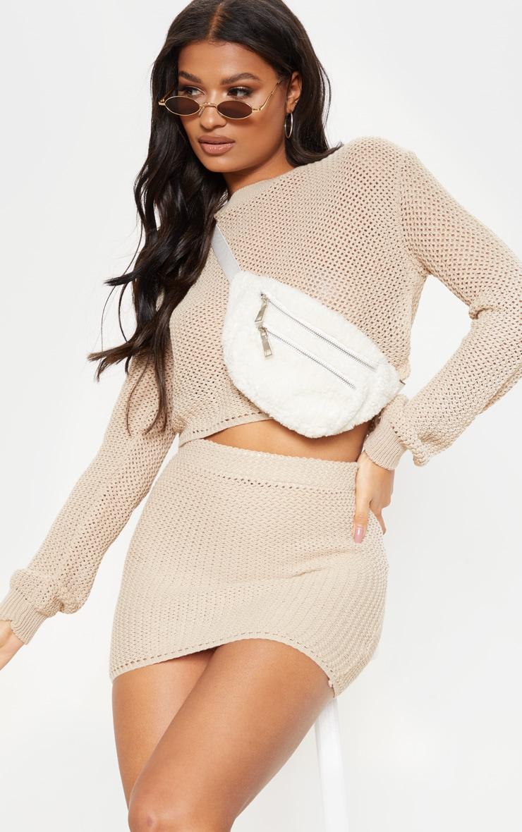 Cream Crochet Knit Co Ord  1