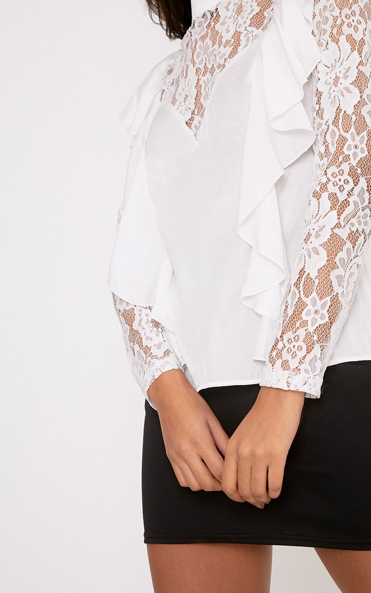 Becki White Ruffle Lace Sleeve High Neck Blouse 5