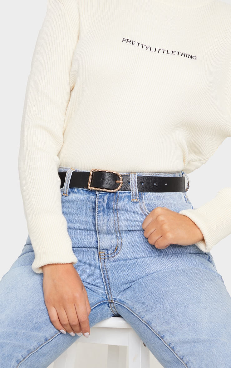 Black PU Twist Buckle Belt 1