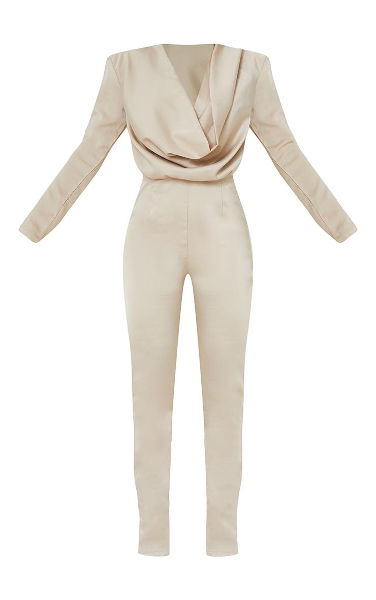 Nude Satin Cowl Neck Long Sleeve Jumpsuit 5